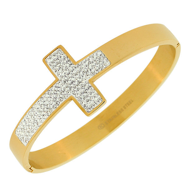 Stainless Steel Yellow Gold-Tone Classic Religious Cross White CZ Bangle Bracelet