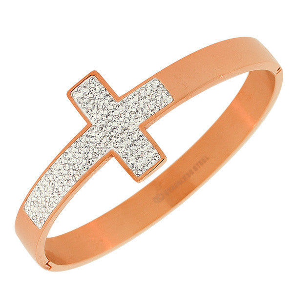 Stainless Steel Rose Gold-Tone Classic Religious Cross White CZ Bangle Bracelet