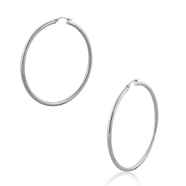"Stainless Steel Silver-Tone Classic Extra Large 2.5"" Round Hoop Earrings"