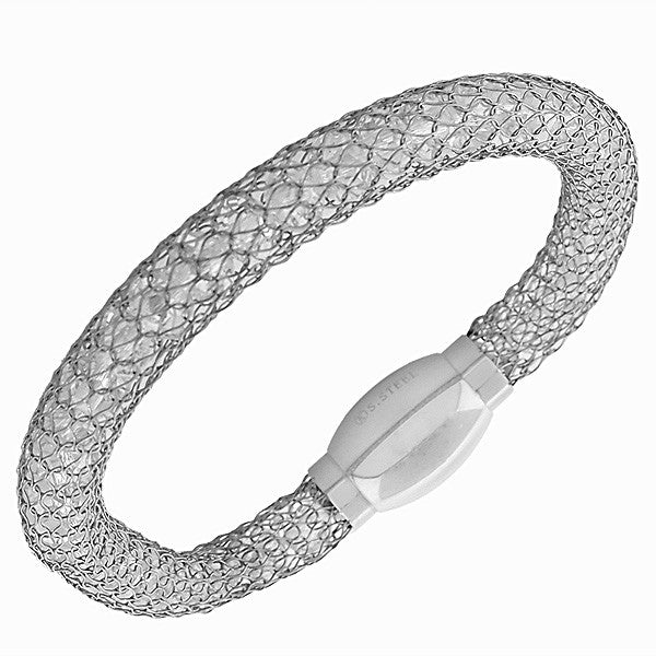 Stainless Steel Silver-Tone White CZ Mesh Bangle Bracelet
