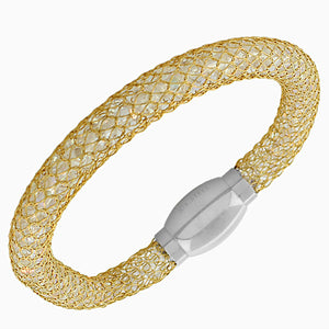 Stainless Steel Yellow Gold-Tone White CZ Mesh Bangle Bracelet