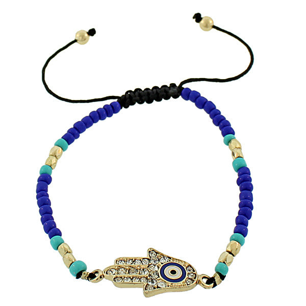 Fashion Alloy Multicolor Gold-Tone White CZ Hamsa Evil Eye Adjustable Beaded Bracelet