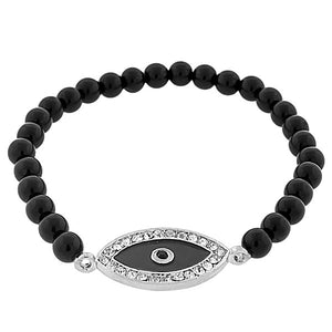 Fashion Alloy Black Silver-Tone White CZ Evil Eye Beaded Stretch Bracelet