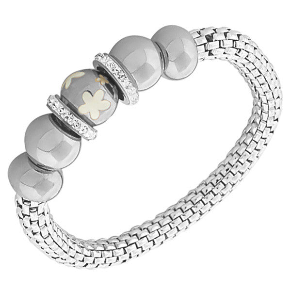 Stainless Steel Silver-Tone Flowers Floral Design White CZ Mesh Stretch Bracelet