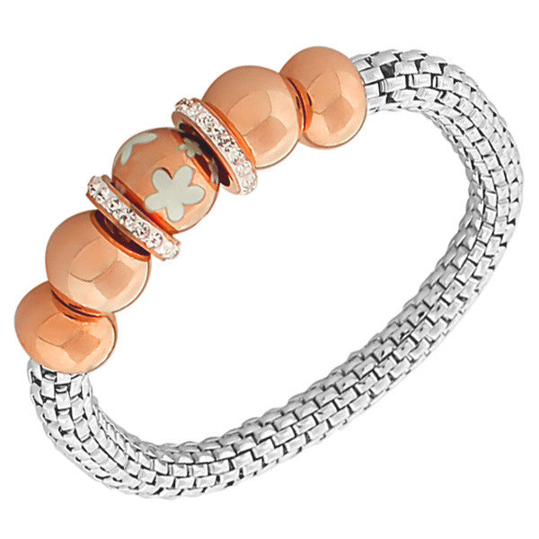Stainless Steel Rose Gold-Tone Silver-Tone Flowers Floral Design White CZ Stretch Mesh Bracelet