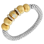 Stainless Steel Two-Tone Flowers Floral Design White CZ Stretch Mesh Bracelet