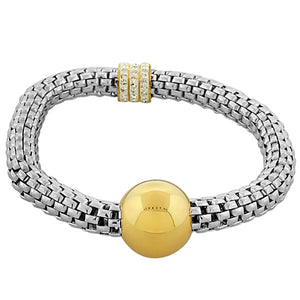 Stainless Steel Two-Tone White CZ Stretch Mesh Bracelet