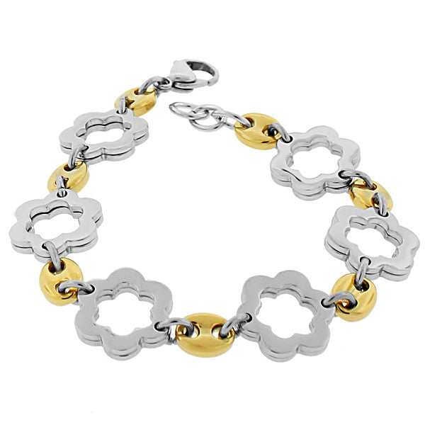 Stainless Steel Two-Tone Links Chain Flowers Floral Bracelet