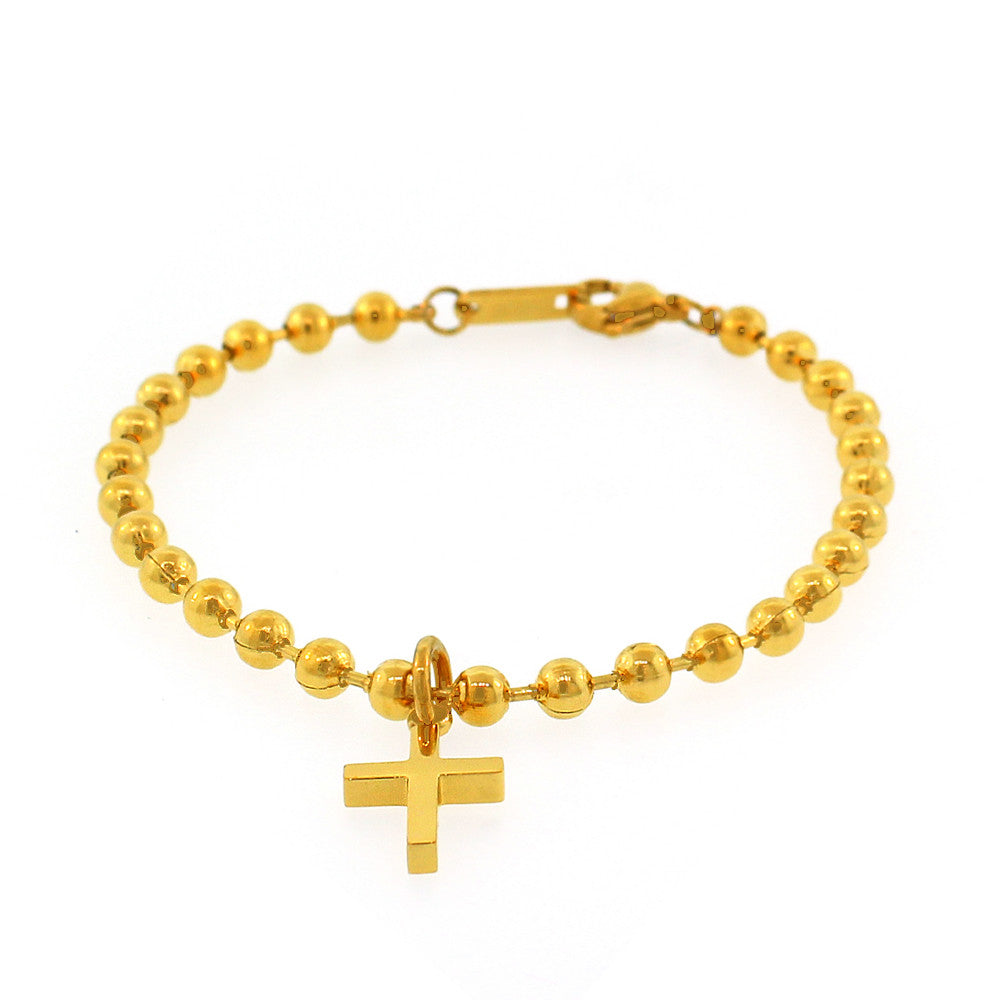 EDFORCE Stainless Steel Yellow Gold-Tone Ball Chain Latin Religious Cross Bracelet