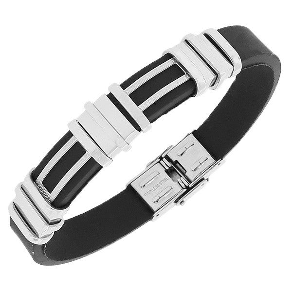 Stainless Steel Black Rubber Silicone Silver-Tone Men's Bracelet