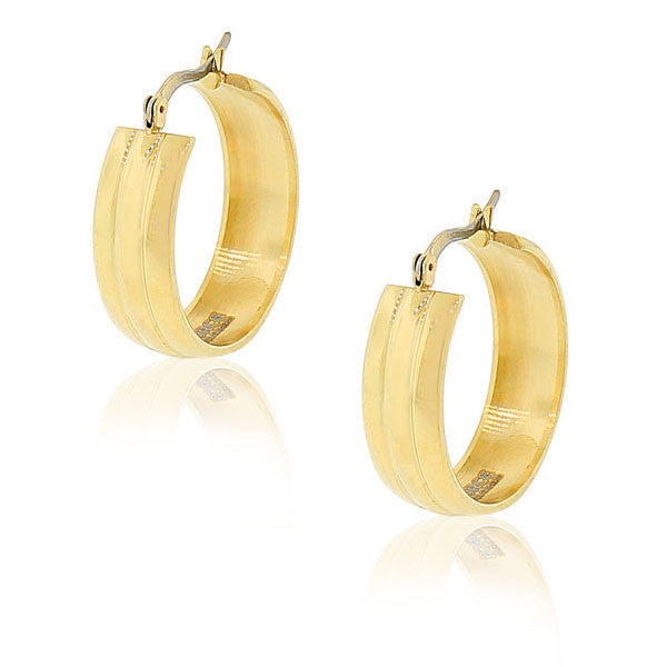 "EDFORCE Stainless Steel Yellow Gold-Tone Classic Polished Hoop Earrings 1.0"" Diameter"