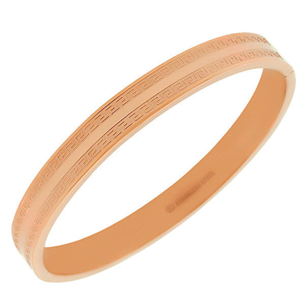 Stainless Steel Oval-Shaped Greek Key Rose Gold-Tone Classic Bangle Bracelet