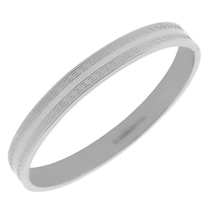 Stainless Steel Oval-Shaped Greek Key Silver-Tone Classic Bangle Bracelet