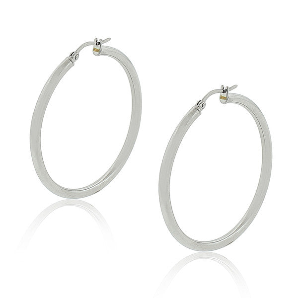 "Stainless Steel Silver-Tone Classic Large 1.75"" Round Hoop Earrings"