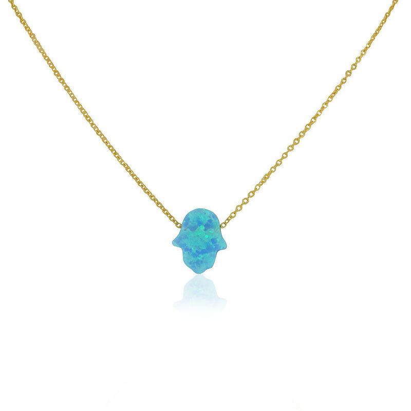 EDFORCE Stainless Steel Yellow Gold-Tone Simulated Blue Opal Hamsa Pendant Necklace, 18""