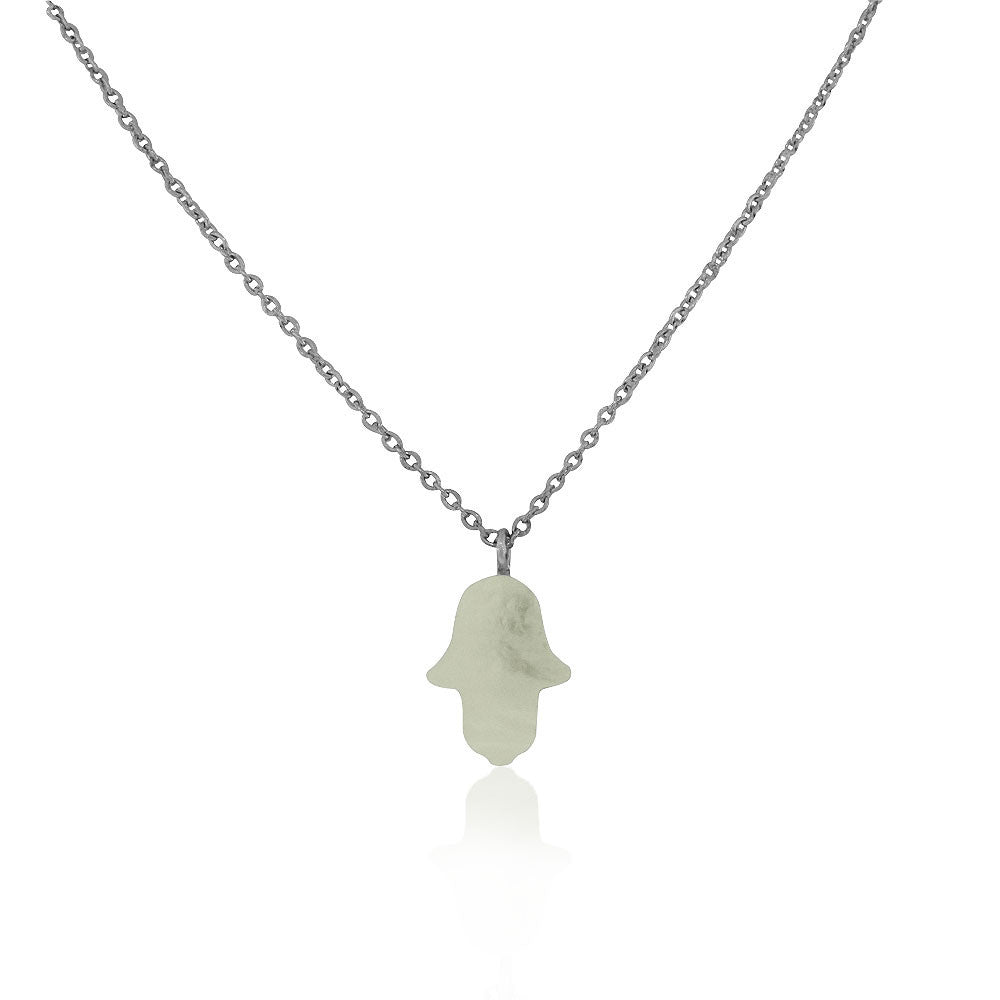 EDFORCE Stainless Steel Silver-Tone Simulated White Opal Hamsa Pendant Necklace, 18""