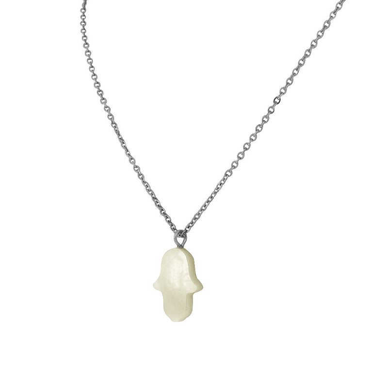 Mother of Pearl Stainless Steel Hamsa Hand Necklace