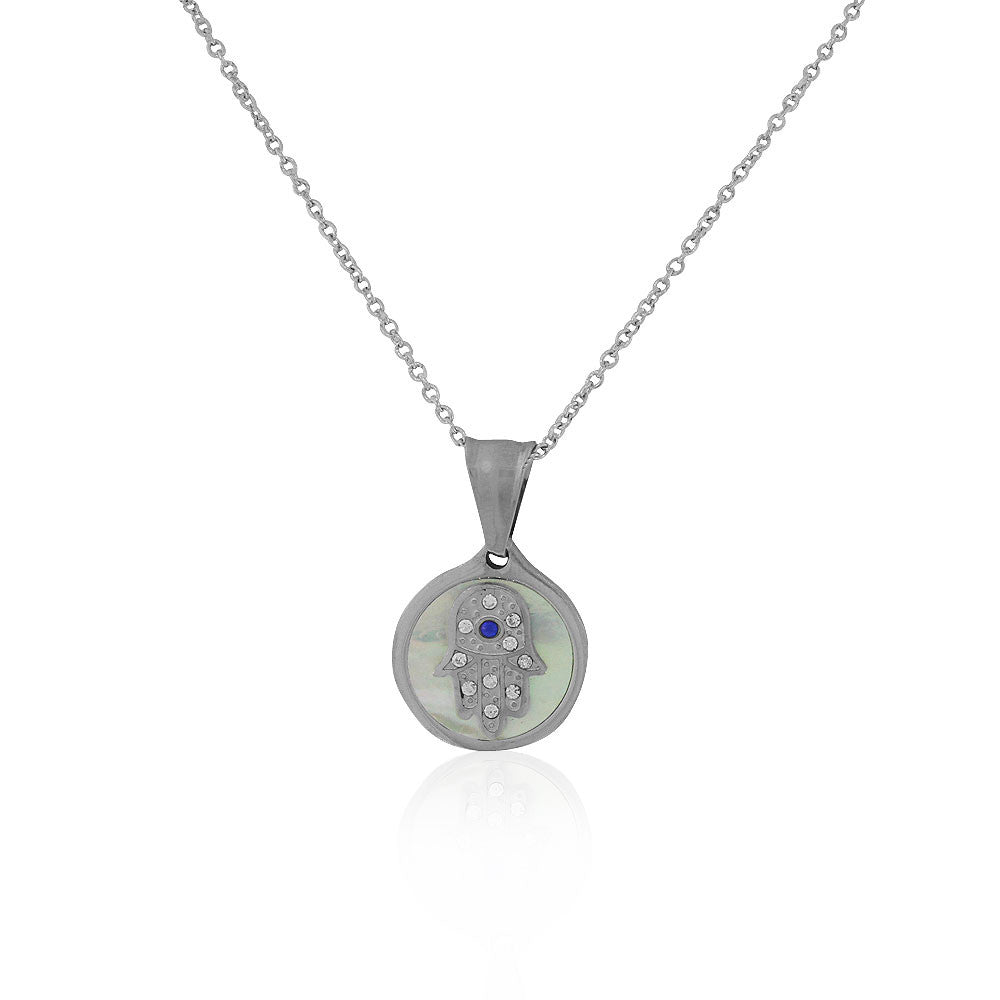 EDFORCE Stainless Steel Silver-Tone Simulated Mother-of-Pearl CZ Hamsa Pendant Necklace, 18""