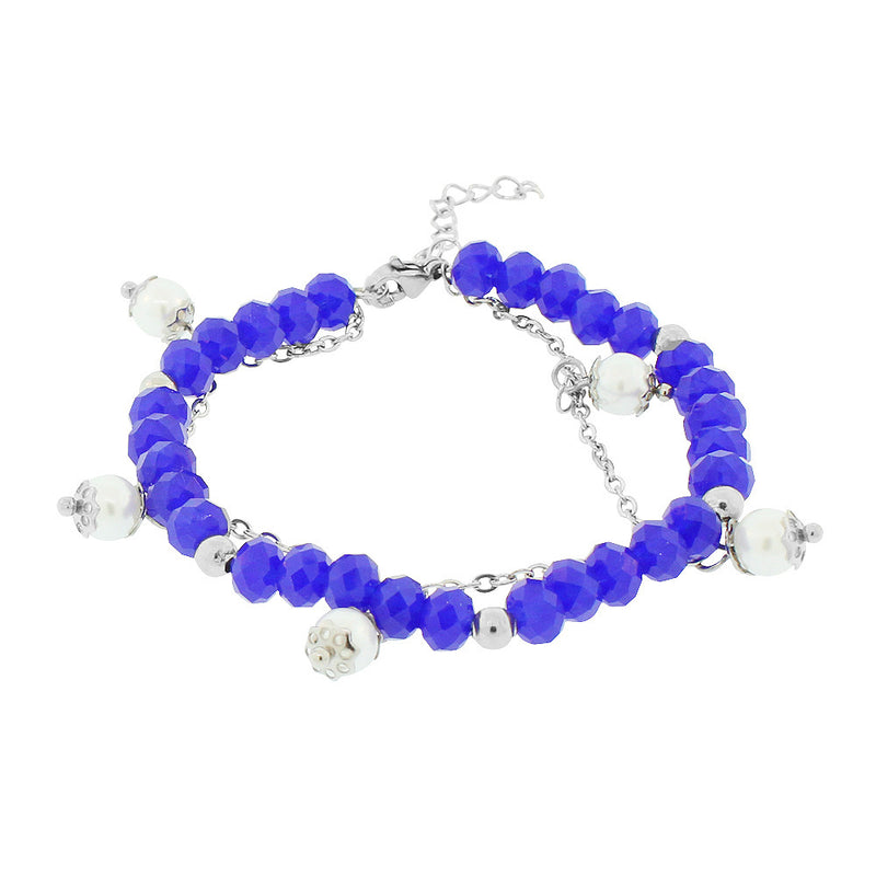 EDFORCE Stainless Steel Blue White Simulated Pearls Link Chain Bracelet, 7.5""