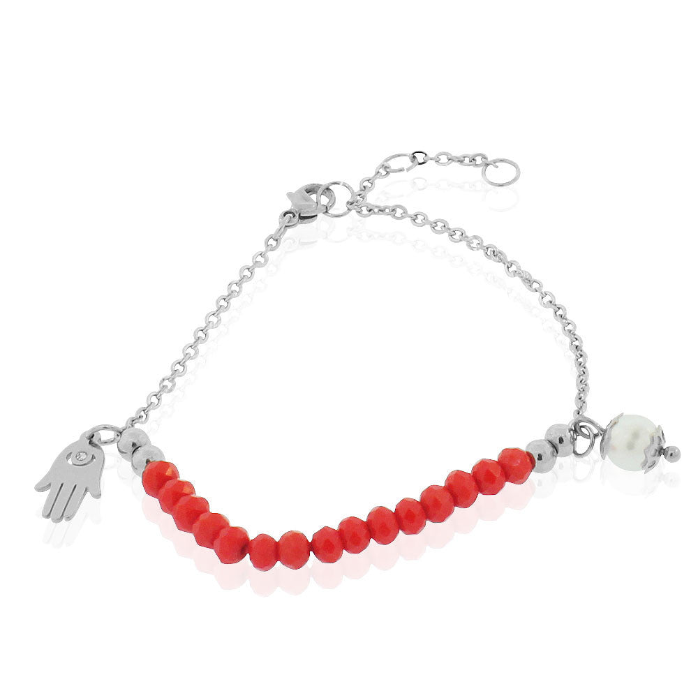 EDFORCE Stainless Steel Red Beads Silver-Tone Simulated Pearl Hamsa Link Chain Bracelet, 7.25""