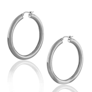 "Stainless Steel Silver-Tone Classic Large 2.0"" Round Hoop Earrings"