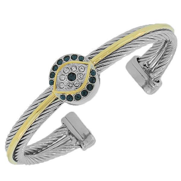 Fashion Alloy Two-Tone Blue CZ Evil Eye Twisted Cable Open End Bracelet