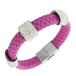 Stainless Steel Hot Pink Purple Leather White CZ Bracelet