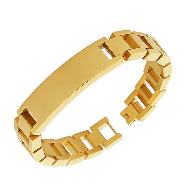 Stainless Steel Yellow Gold-Tone Name Tag Men's Link Chain Bracelet