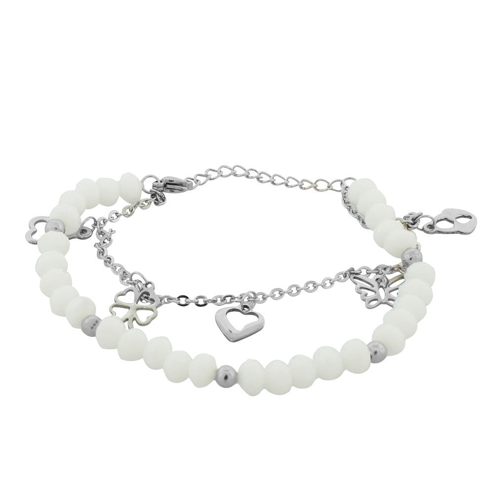 EDFORCE Stainless Steel White Silver-Tone Flower Heart Charms Link Chain Bracelet, 7.5""