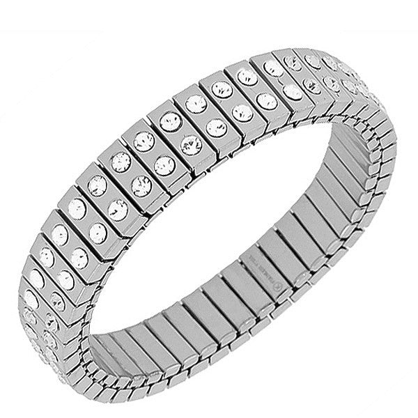 Stainless Steel Silver-Tone White CZ Stretch Bangle Bracelet