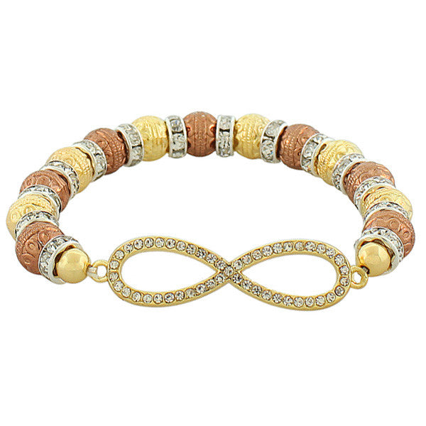 Fashion Alloy Yellow Gold-Tone Rose Gold-Tone Infinity White CZ Stretch Bracelet