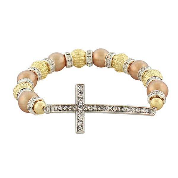 Fashion Alloy Yellow Gold-Tone Rose Gold-Tone Latin Cross White CZ Stretch Bracelet
