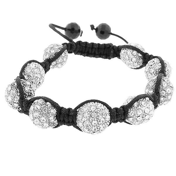 White CZ Ball Beaded Black Cord Adjustable Macrame Bracelet