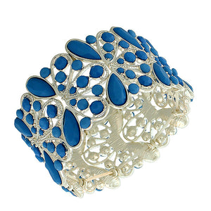 Fashion Alloy Silver-Tone Blue Beads Wide Stretch Bangle Bracelet