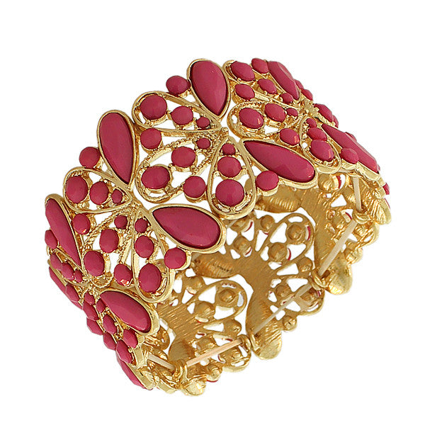 Fashion Alloy Yellow Gold-Tone Pink Beads Wide Stretch Bangle Bracelet