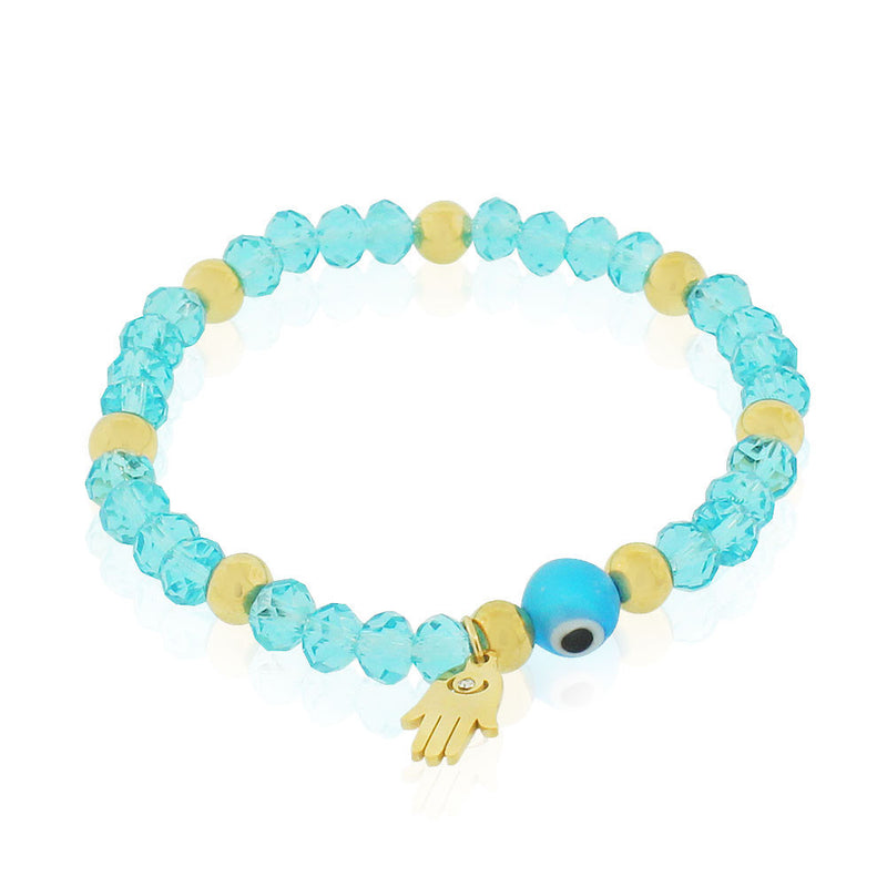 EDFORCE Stainless Steel Blue Yellow Gold-Tone Hamsa Evil Eye Protection Stretch Bracelet, 6.5""