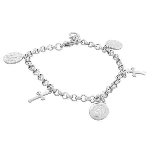 Stainless Steel Silver-Tone Religious Latin Cross Virgin Mary Christian Chain Bracelet