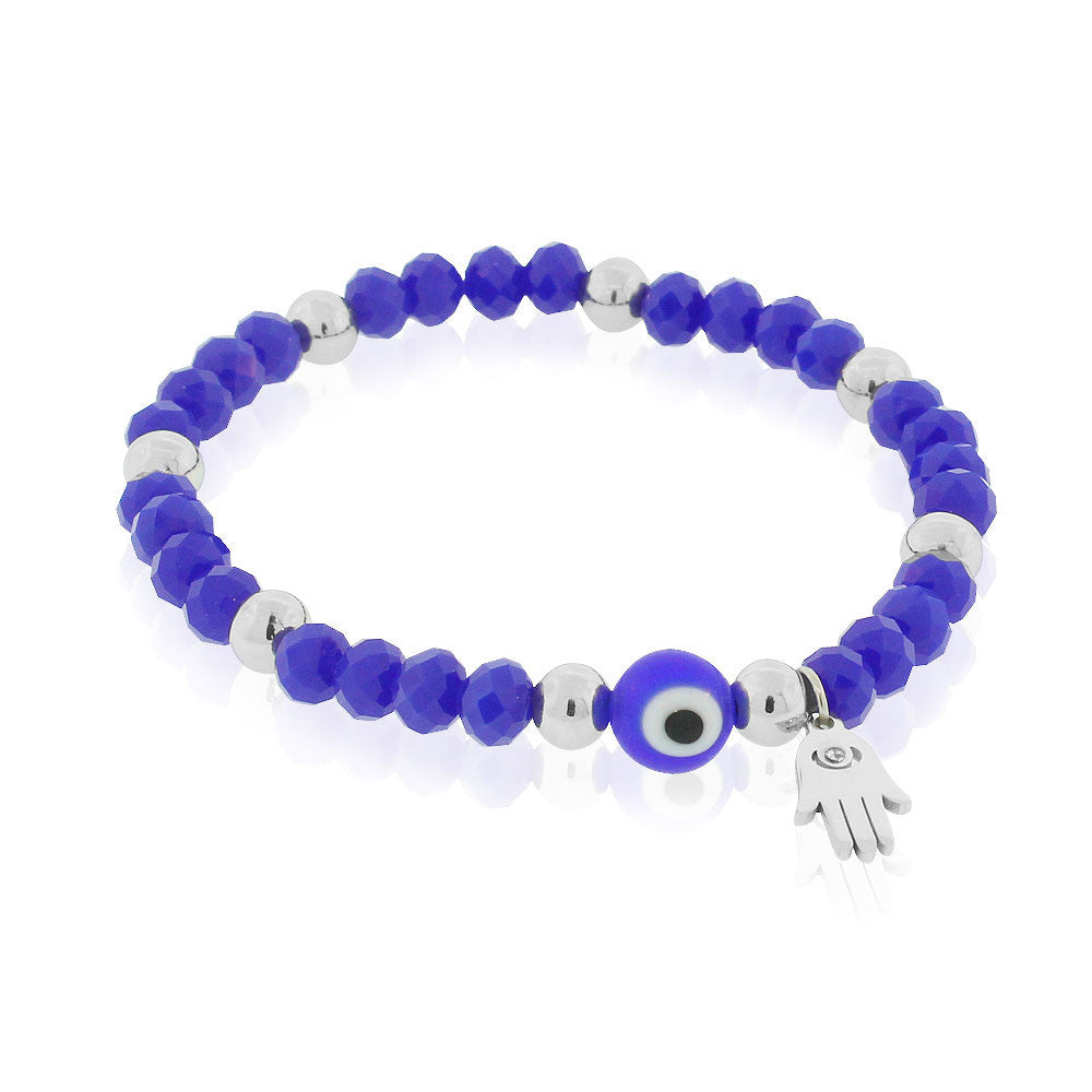 EDFORCE Stainless Steel Blue Silver-Tone Hamsa Evil Eye Protection Stretch Bracelet, 6.5""