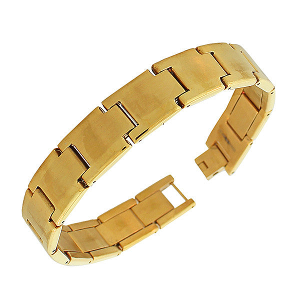 Stainless Steel Yellow Gold-Tone Polished Matte Men's Link Chain Bracelet