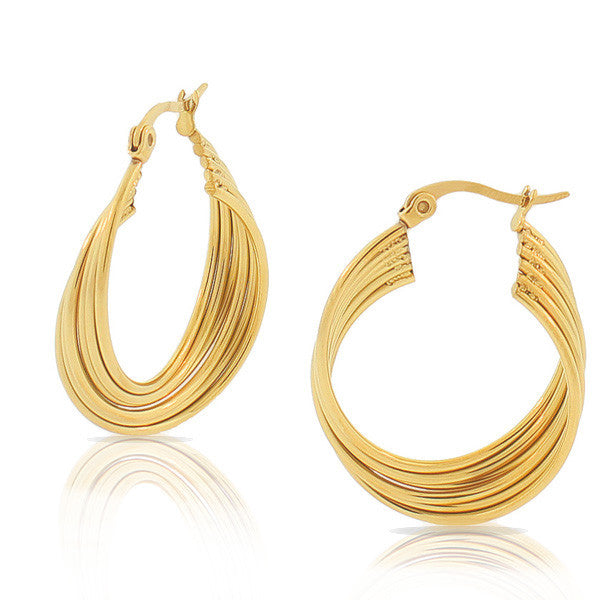 EDFORCE Stainless Steel Yellow Gold-Tone Multi-Bangle Hoop Earrings