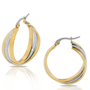 EDFORCE Stainless Steel Multi-Tone Multi-Bangle Hoop Earrings