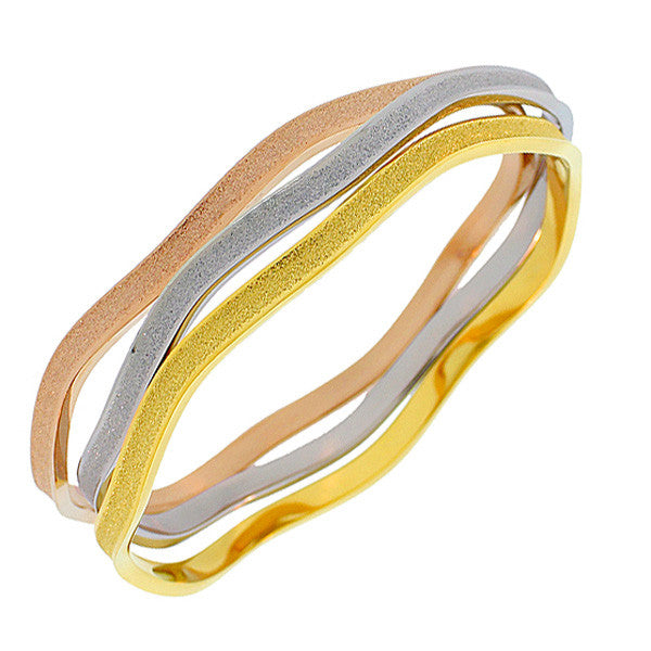 EDFORCE Stainless Steel Gold-Tone Glitter Stackable Three Bangle Bracelets Set