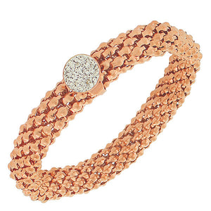 EDFORCE Stainless Steel Rose Gold-Tone White CZ Stretch Mesh Bracelet