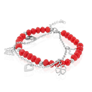 EDFORCE Stainless Steel Red Silver-Tone Flower Heart Charms Link Chain Bracelet, 7.5""