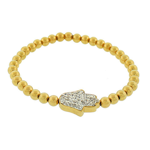 EDFORCE Stainless Steel Yellow Gold-Tone Hamsa White CZ Stretch Bracelet