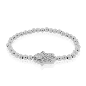 EDFORCE Stainless Steel Silver-Tone Hamsa Star of David CZ Beaded Stretch Bracelet, 6""
