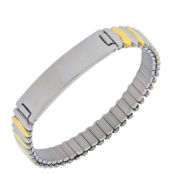EDFORCE Stainless Steel Two-Tone Name Tag Stretch Bracelet