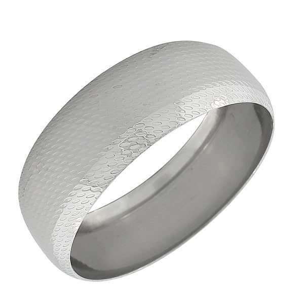 EDFORCE Stainless Steel Round Silver-Tone Classic Bangle Bracelet