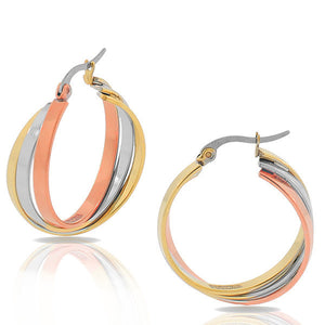 EDFORCE Stainless Steel Gold-Tone Silver-Tone Multi-Bangle Interlocking Hoop Earrings