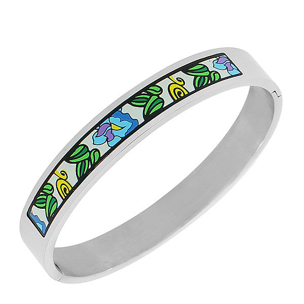 EDFORCE Stainless Steel Multicolor Oval-Shaped Silver-Tone Bangle Bracelet